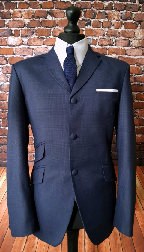 """Erwin"" Rich Navy Pow Checked Suit"